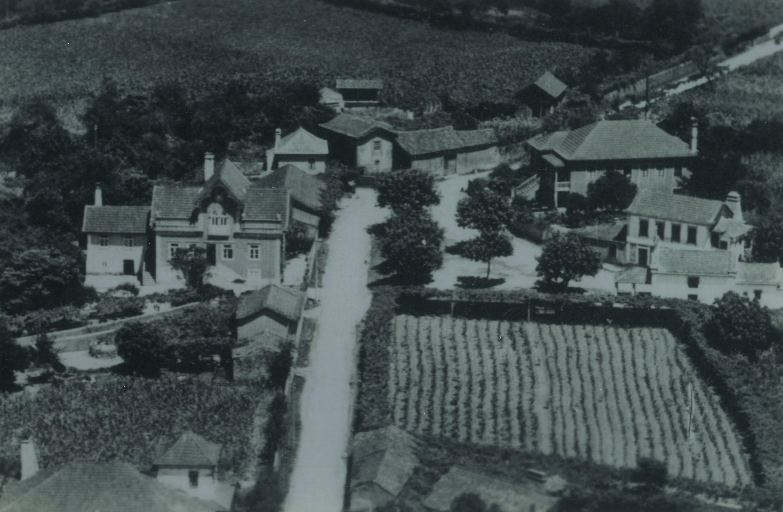 Vista aérea da escola cantina D. Maria Rizo Terra, S. Martinho da Gândara (1954)
