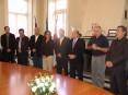 A comitiva suiça do município de Romont  representada, à direita, pelo «maire» Roger Brodard e pelo oliveirense António Godinho