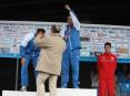 Entrega de medalhas aos três primeiros classificados no Campeonato Nacional de Estrada em Atletismo