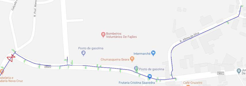 Localização da zona de corte/mapa Fajões